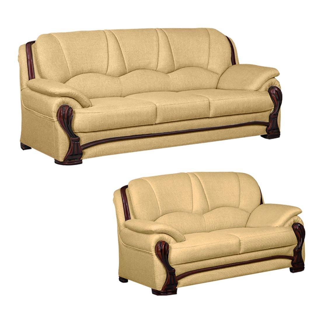 Bharat Lifestyle China Gate Fabric 3 + 2 Gold Sofa Set