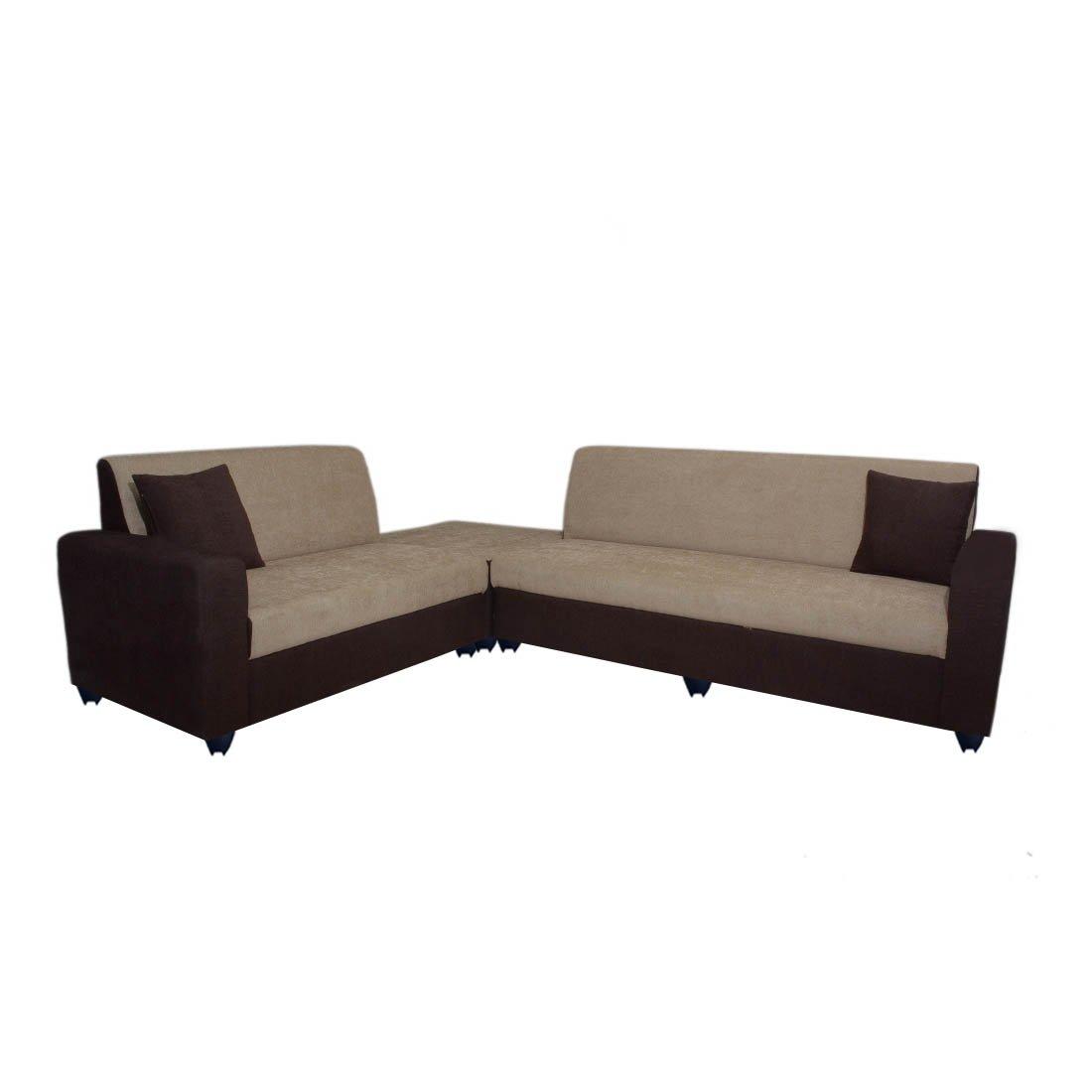 Excellent Bharat Lifestyle Cosmo Plus Fabric 6 Seater Finish Color Cream Brown Machost Co Dining Chair Design Ideas Machostcouk