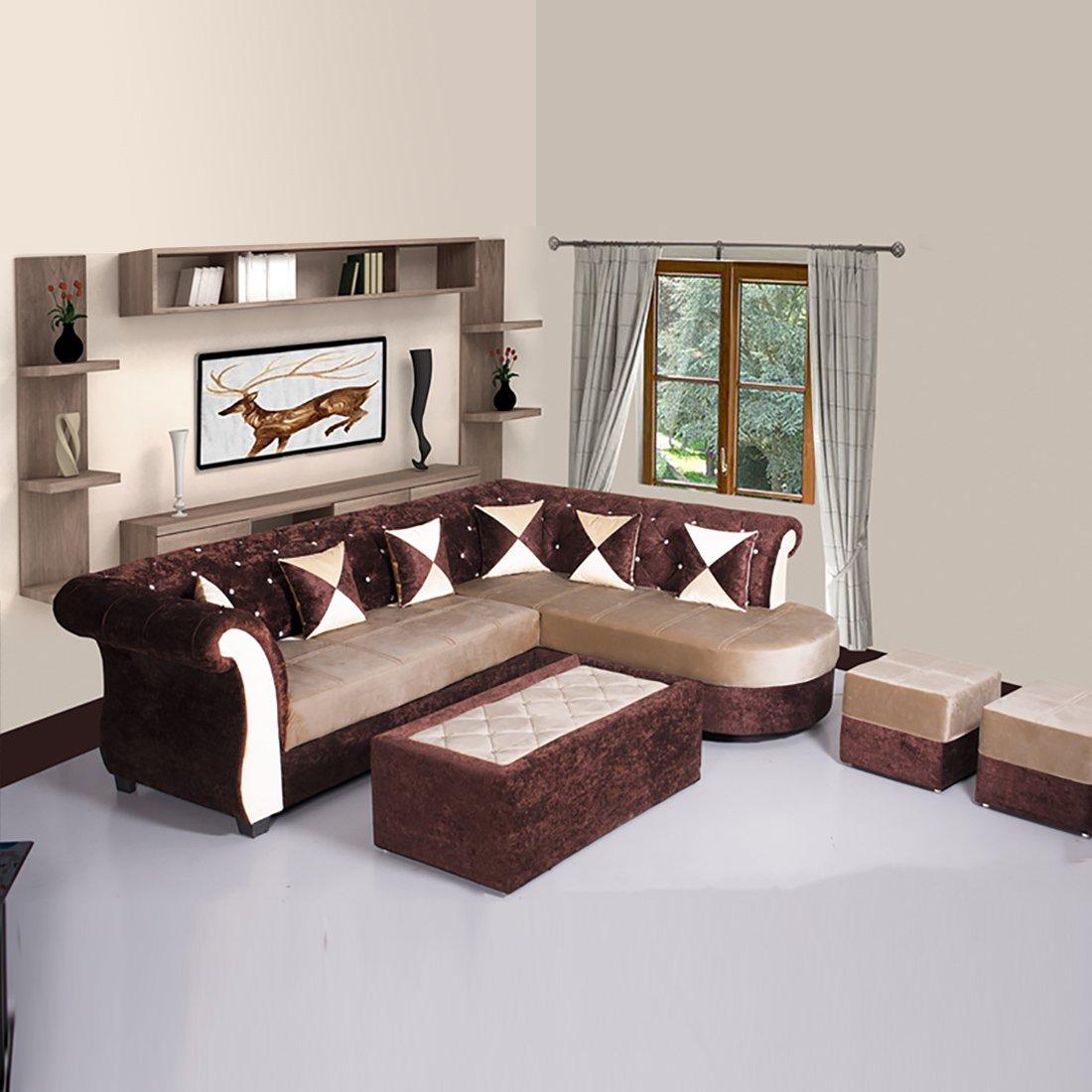 Bharat Lifestyle Dl Diamond Fabric Sectional Cream Brown Sofa Set