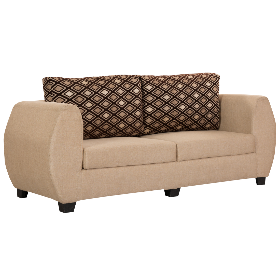 Bharat Lifestyle Delight Fabric 3 Seater Sofa (Color-Gold)