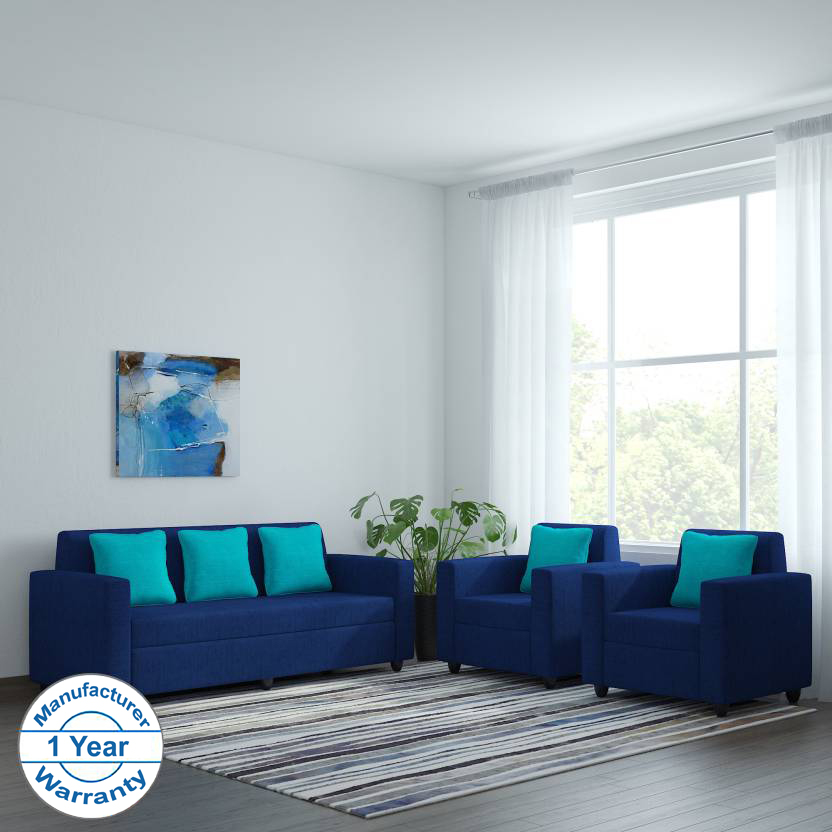 Bharat Lifestyle Desy Fabric 3 + 1 + 1 Blue Sofa Set