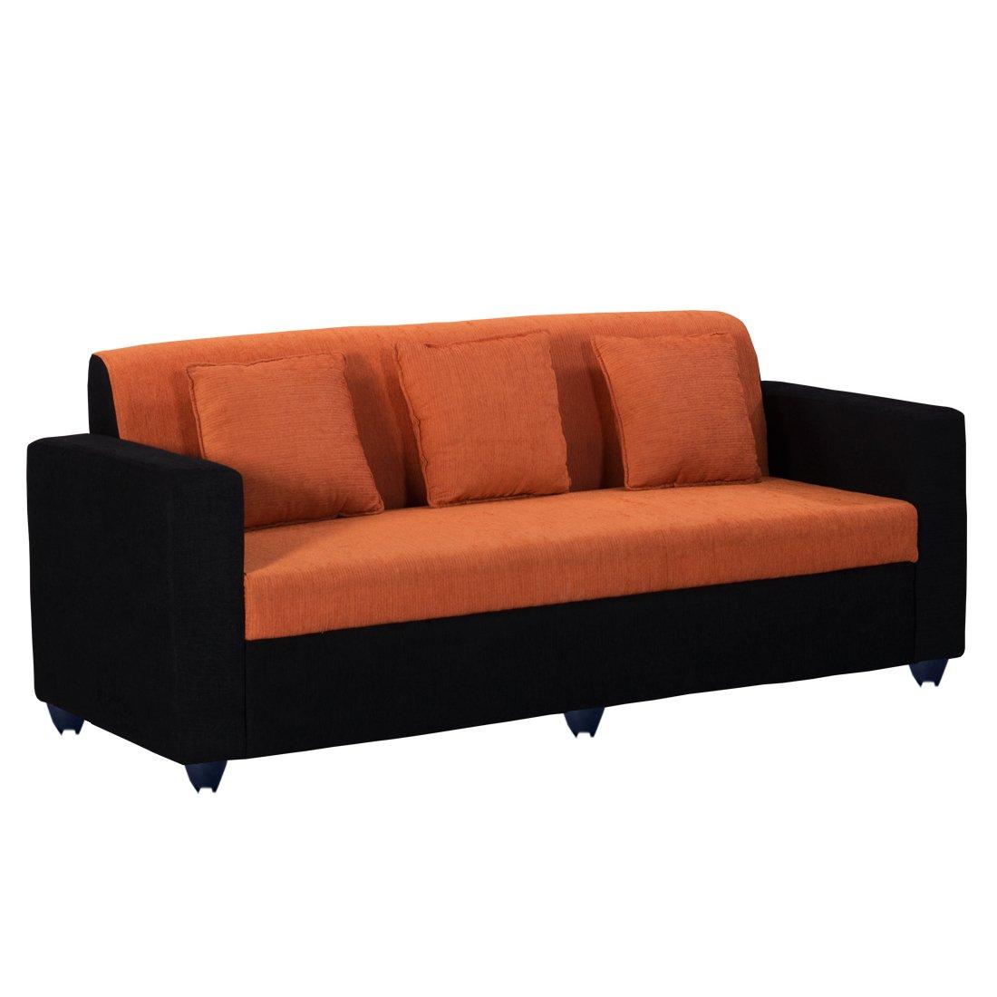 Bharat Lifestyle Desy Fabric 3 Seater Sofa Color Orange Online
