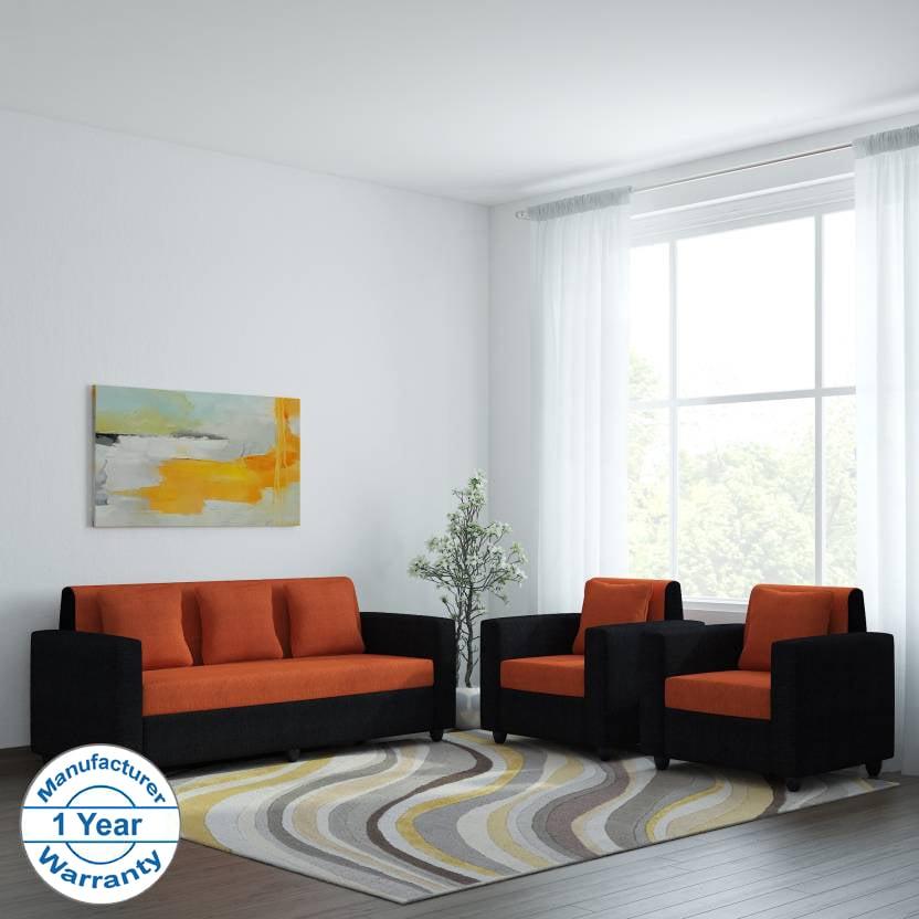 Bharat Lifestyle Desy Fabric 3 + 1 + 1 Orange Sofa Set