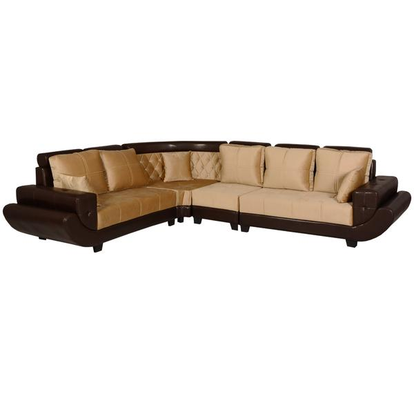 Bharat Lifestyle Jupiter Leatherette and Fabric 6 Seater (Finish Color - Cream Brown)