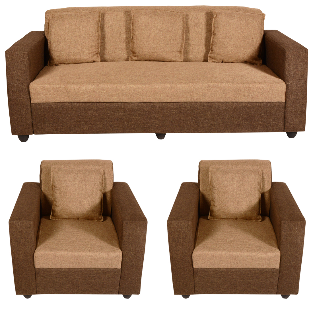 Groovy Bharat Lifestyle Lexus Fabric 3 1 1 Golden Brown Sofa Set Cjindustries Chair Design For Home Cjindustriesco