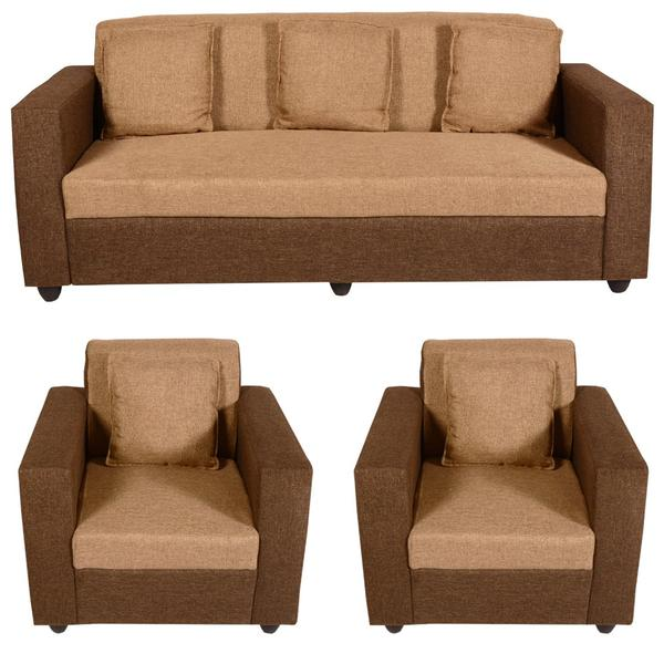 Bharat Lifestyle Lexus Fabric 3 + 1 + 1 Golden Brown Sofa Set