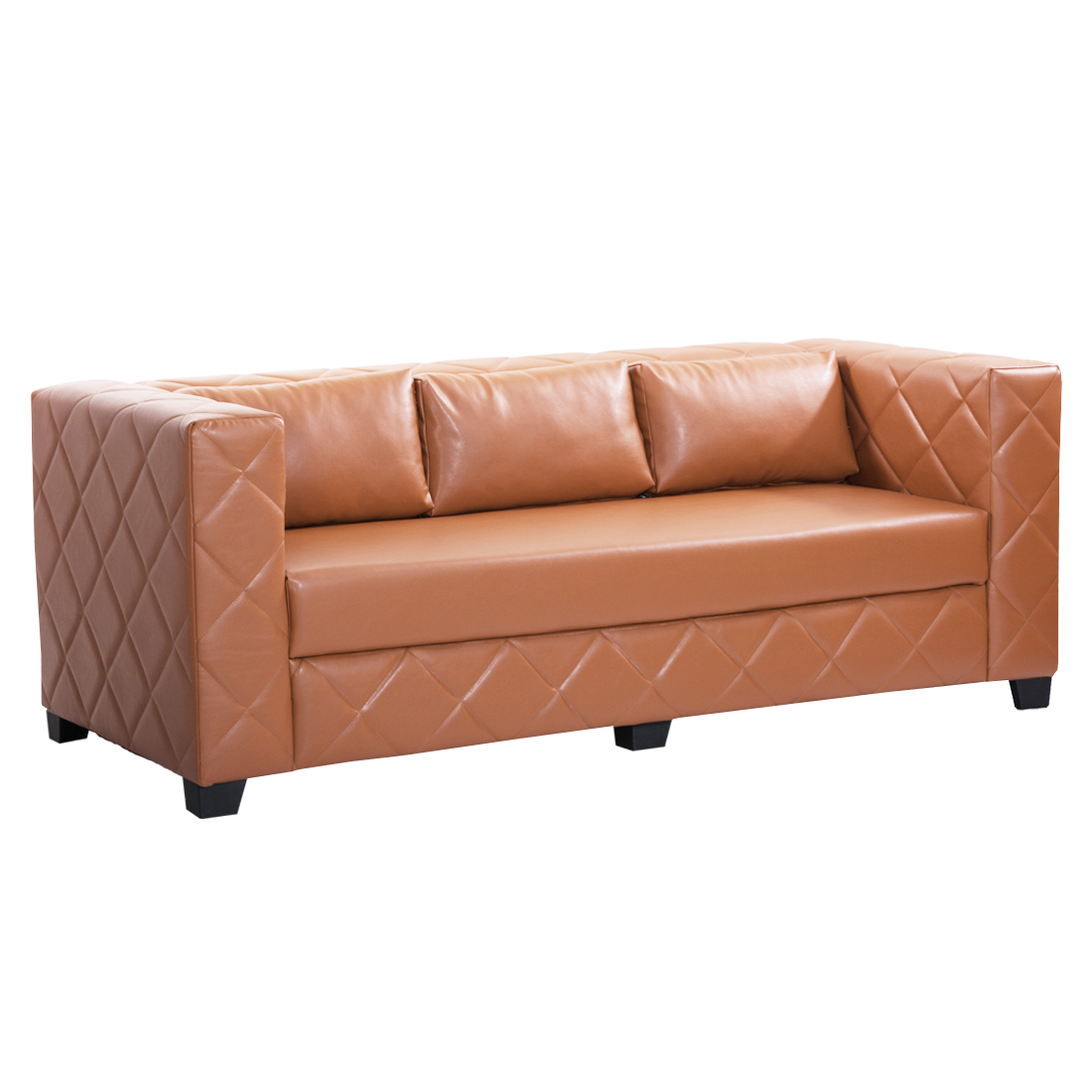 Bharat Lifestyle Martin Leatherette 3 Seater Sofa Color Rust Brown