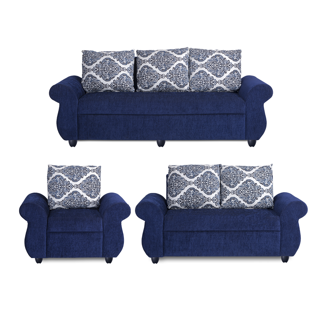 Bharat Lifestyle Alisa Fabric 3 + 2 + 1 Blue Sofa Set