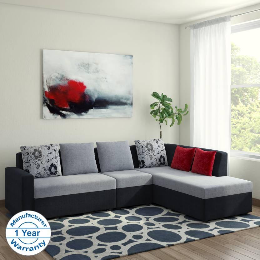 Bharat Lifestyle Nano L-Shape Fabric Sofa Set Black Grey (2+1+D) Right  Facing