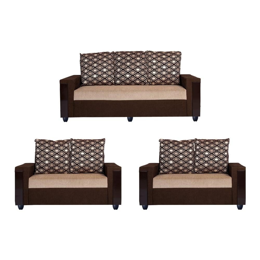 Bharat Lifestyle Ocea Fabric 3 2 2 Cream Brown Sofa Set Online