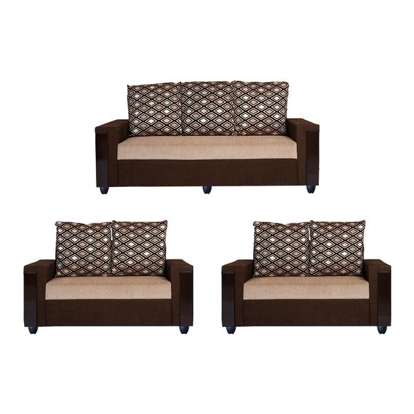 Bharat Lifestyle Ocea Fabric 3 + 2 + 2 Cream Brown Sofa Set