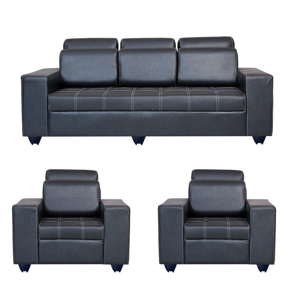 Bharat Lifestyle Orchid Leatherette 3 + 1 + 1 Black Sofa Set