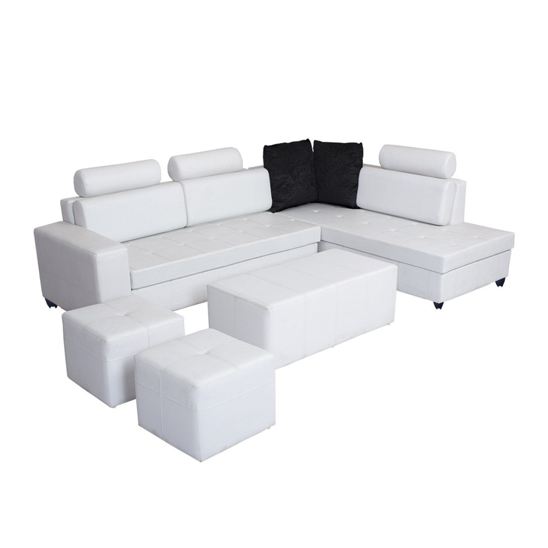 Admirable Bharat Lifestyle Orchid Leatherette Sectional Sofa Set Finish Color White Machost Co Dining Chair Design Ideas Machostcouk
