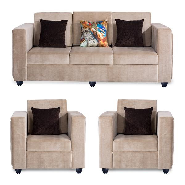 Bharat Lifestyle Paradise Premium Fabric 3 + 1 + 1 Cream Sofa Set