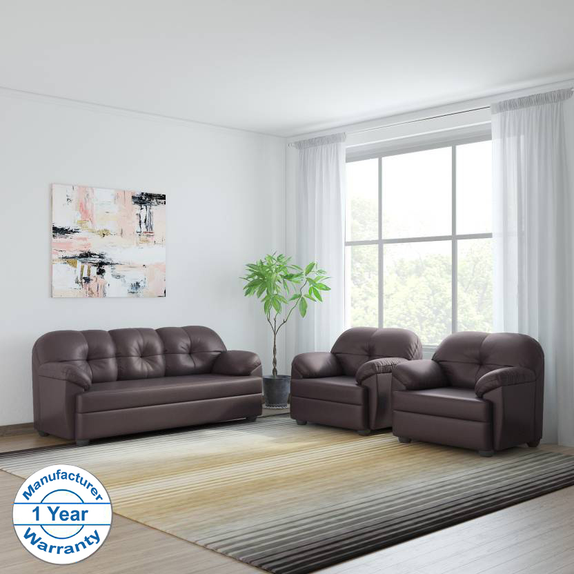 Phenomenal Bharat Lifestyle Brooklyn Leatherette 3 1 1 Brown Sofa Set Cjindustries Chair Design For Home Cjindustriesco