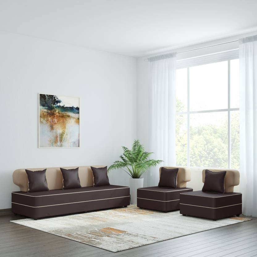 Bharat Lifestyle Butterfly Leatherette 3 1 1 Cream Brown Sofa
