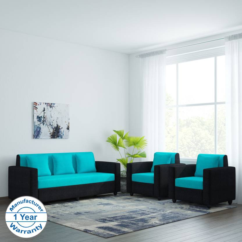 Bharat Lifestyle Desy Fabric 3 + 1 + 1 Aqua Blue & Black Sofa Set