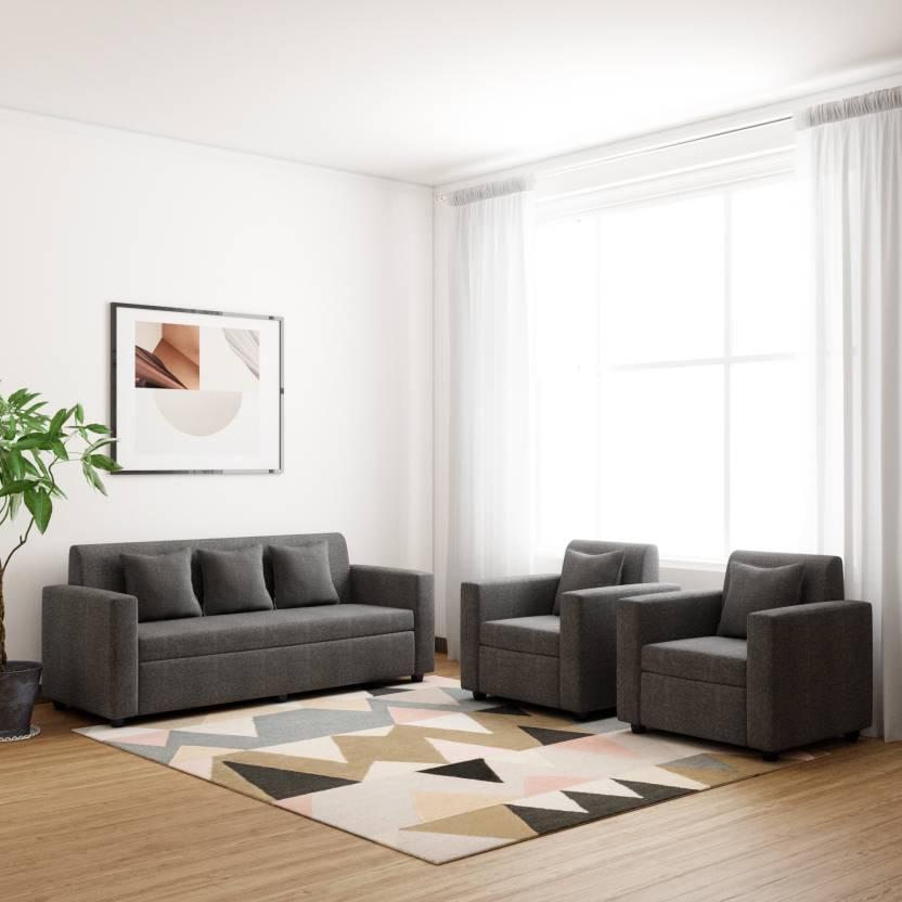 Bharat Lifestyle Lexus Fabric 3 + 1 + 1 Dark Grey Sofa Set