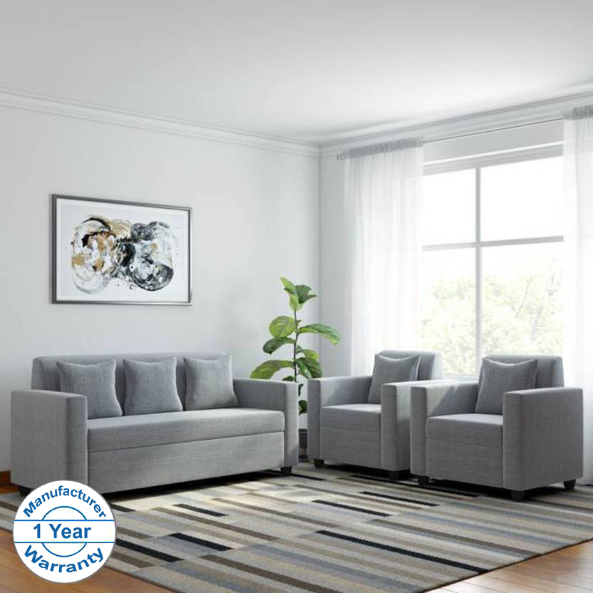 Bharat Lifestyle Lexus Fabric 3 + 1 + 1 Light Grey Sofa Set