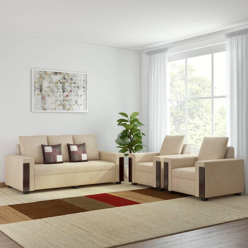 Bharat Lifestyle Ocea Fabric 3 1 1 Sofa Set Color Cream