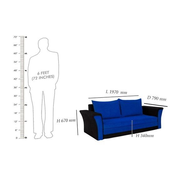 Bharat Lifestyle Leo Fabric Sofa Cum Bed (Dark Blue and Black )