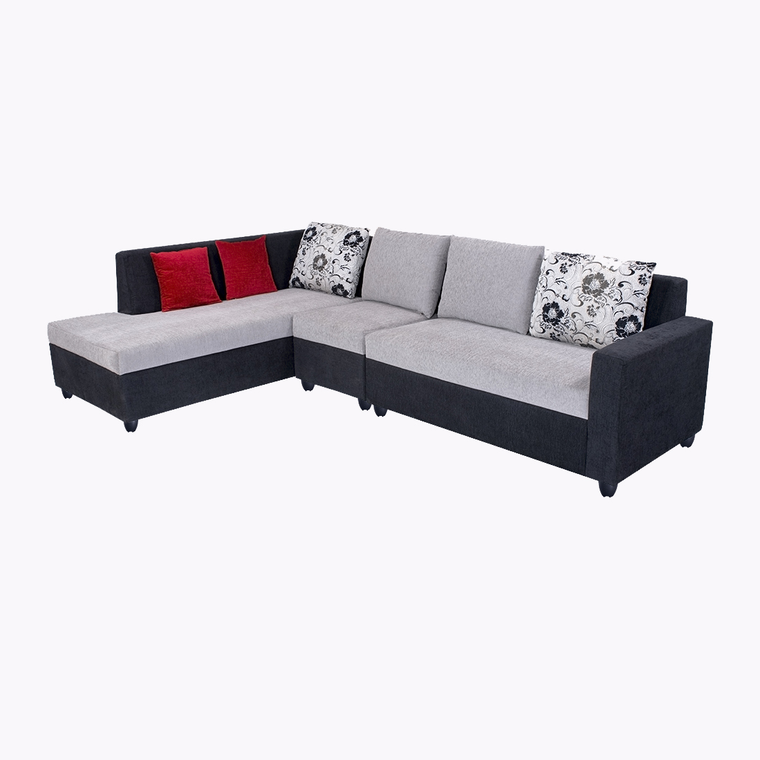 Bharat Lifestyle Nano L-Shape Fabric Sofa Set Black Grey (2+1+D ...