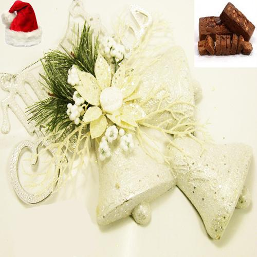 Christmas decorations, Gati, White Merry Christmas Bells Hanging with Plum Cake