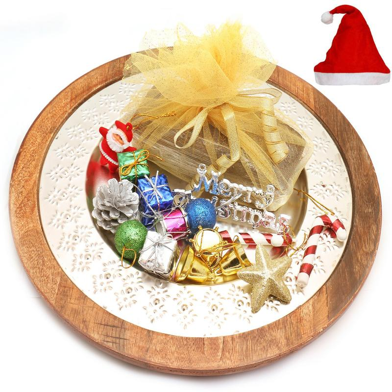 Christmas Hampers, Hamper, Diwali Gifts, Gati, Silver Wooden Tray with Plum Cake and Christmas Decor