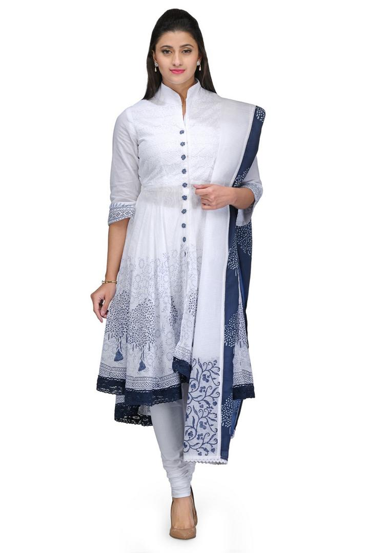 White & Blue Asymmetric Cotton Suit Set - SKD2802S