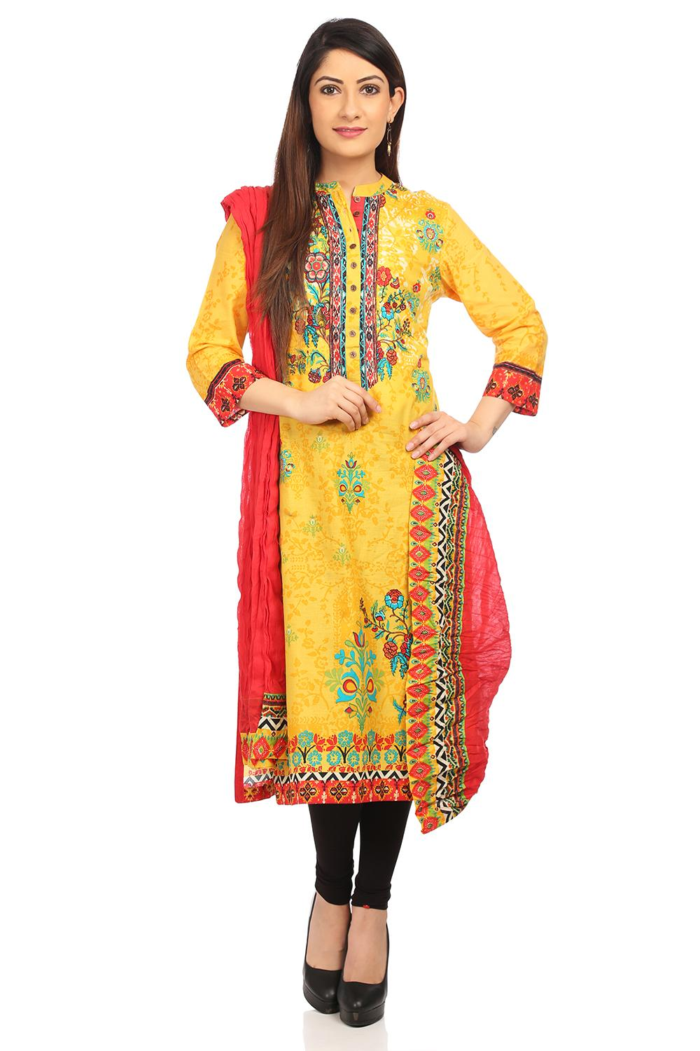 Red Cotton Dupatta - AJMAN13870SS18RED
