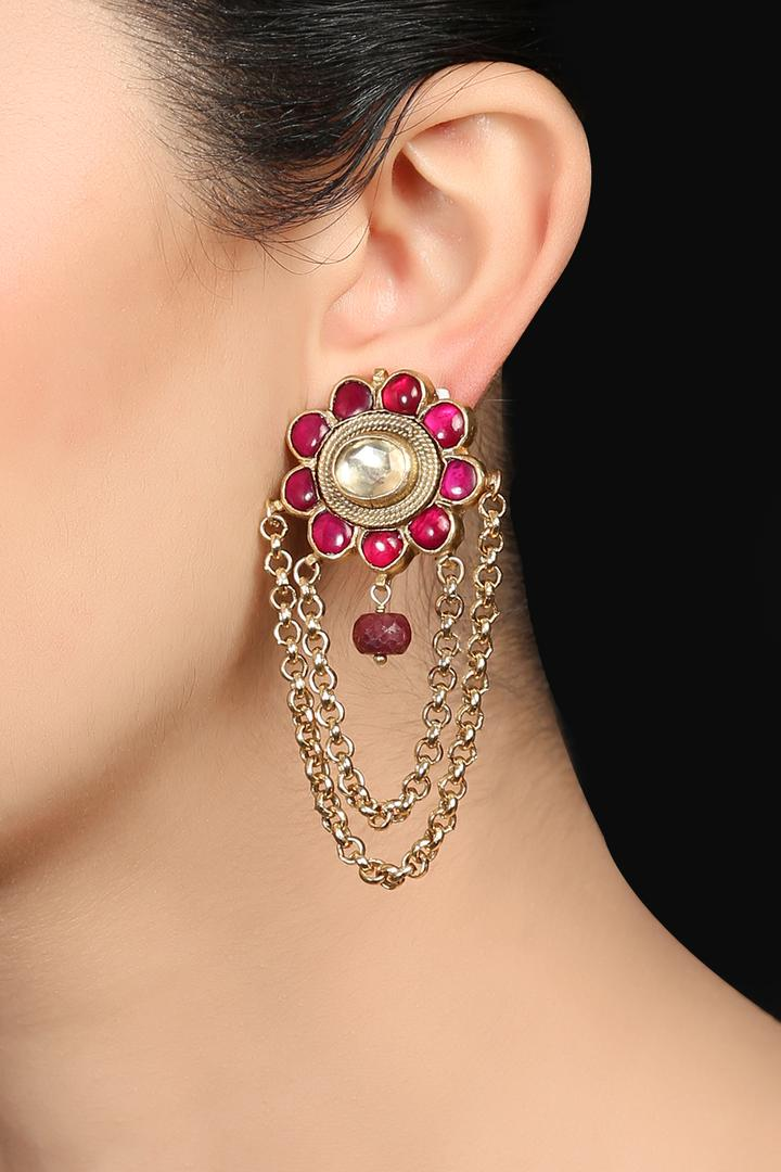 Golden Earrings with Ruby & Kundan Stone - AKBB004