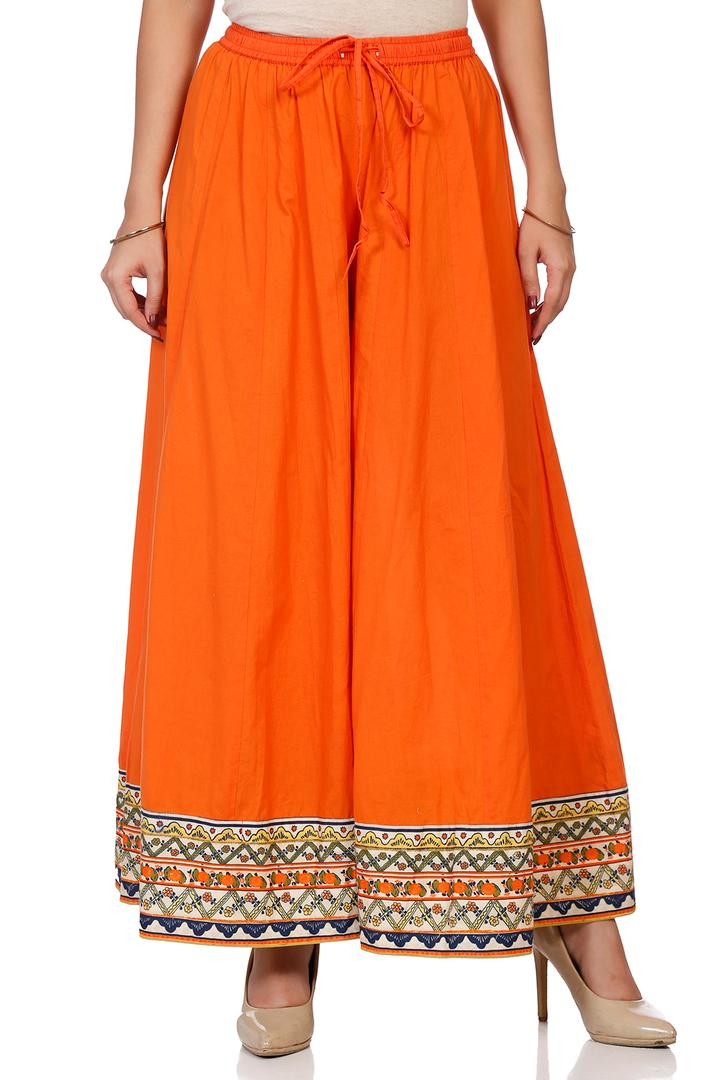 Orange Cotton Flared Palazzo - ARTINT14161AW18ORG