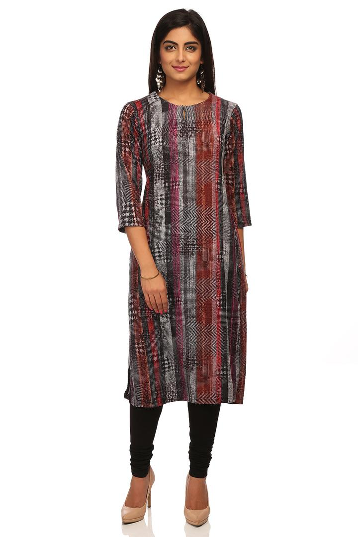 Grey Straight Poly Cotton Kurta - ASSORTED12936AW1