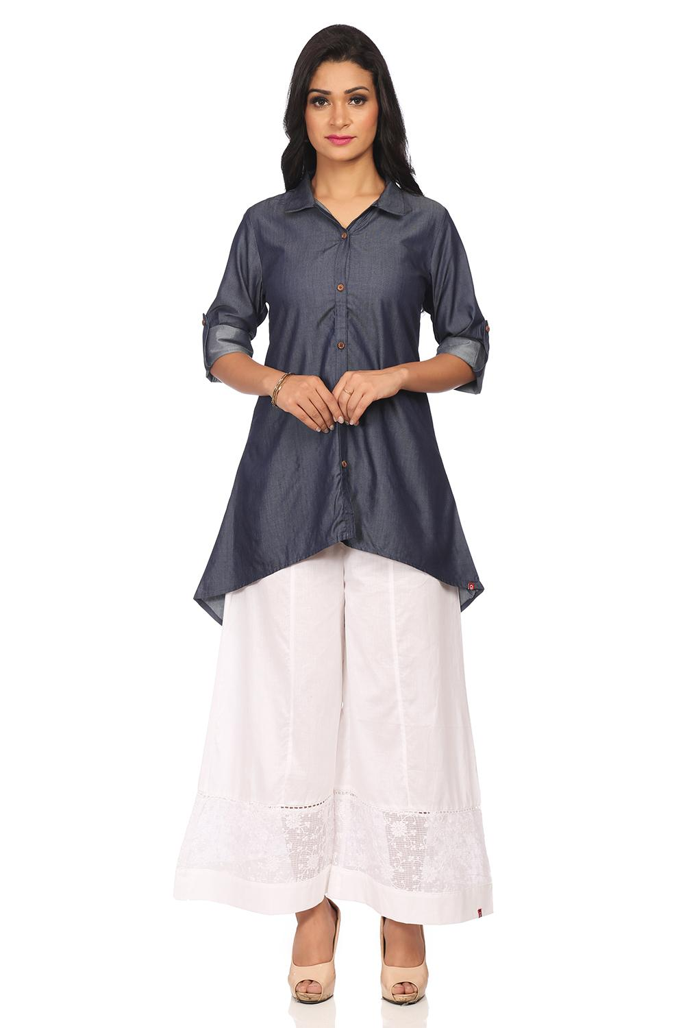 Blue Straight High Low Cotton Kurta - ASSORTED1382