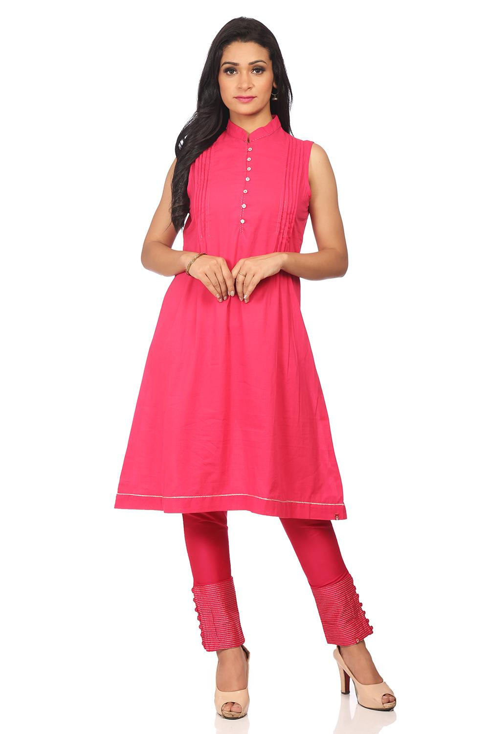 Pink Straight Cotton Kurta - ASSORTED13829SS18BLU