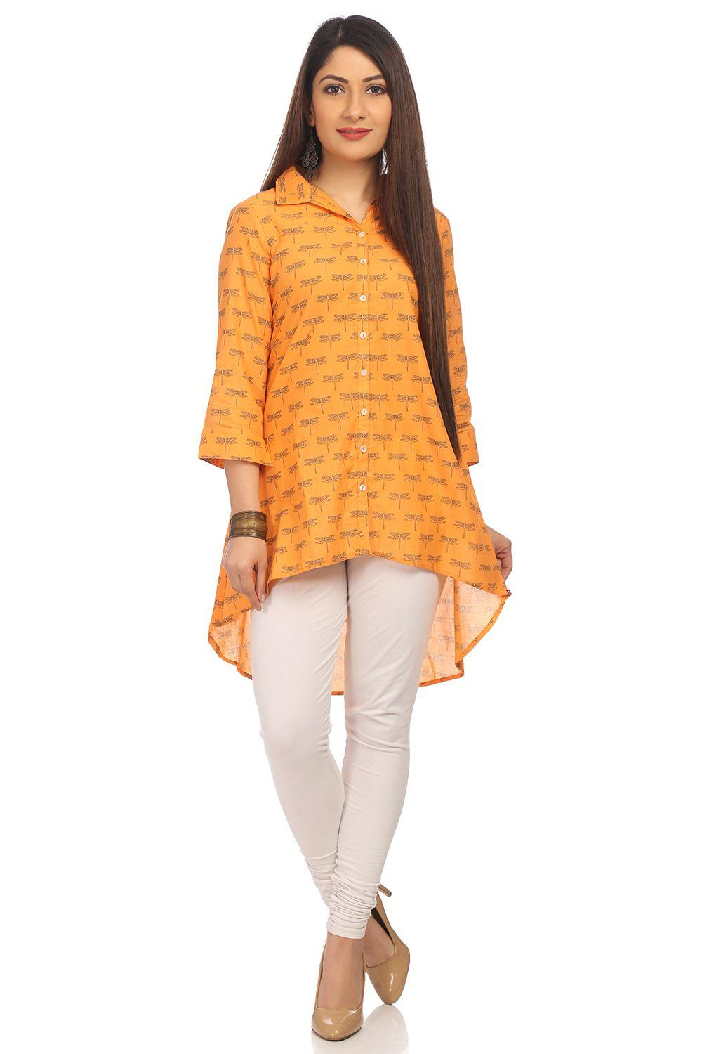 Orange A-Line High Low Cotton Tunic - CAFEPIN13934
