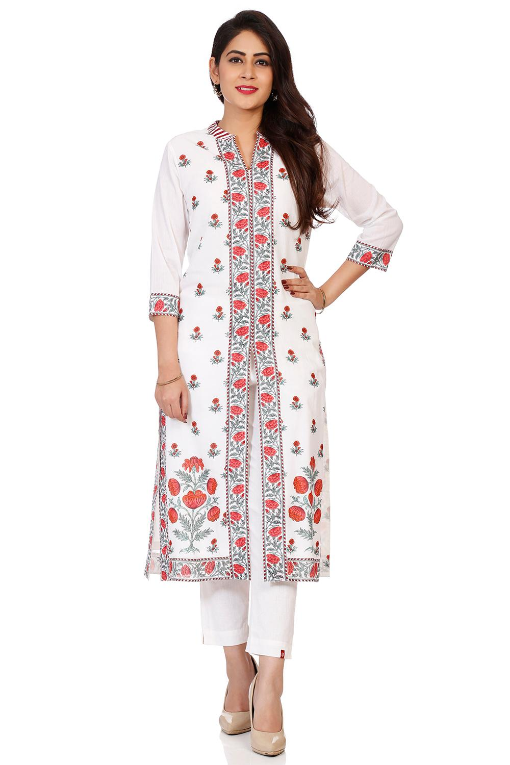 Off White Cotton Front Open Kurta - CAFEPIN14507AW