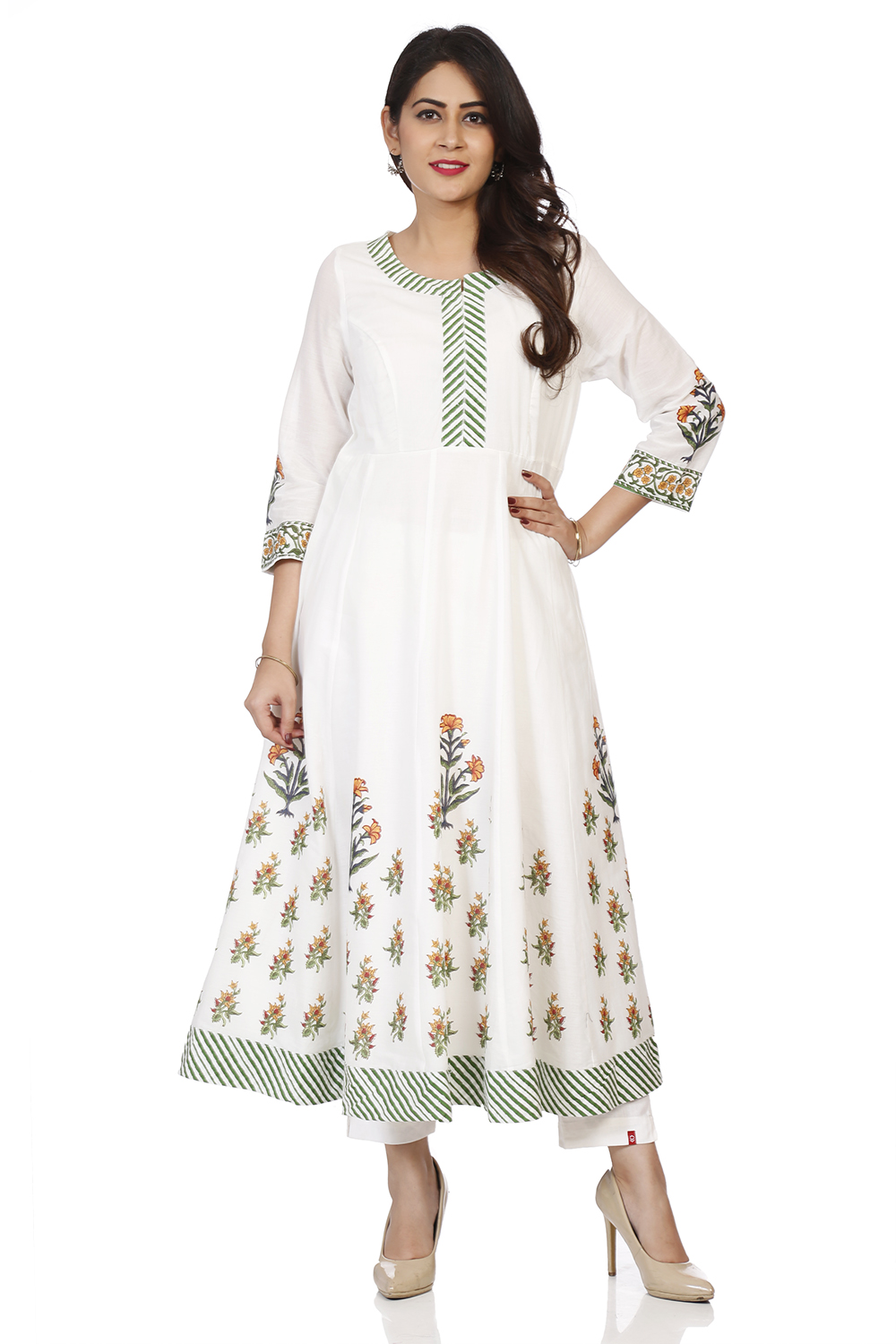 Get 40% off on Biba mix and match Tops Off White Cotton Kalidar Kurta featuring Round Neck, 3/4 sleeves and lining