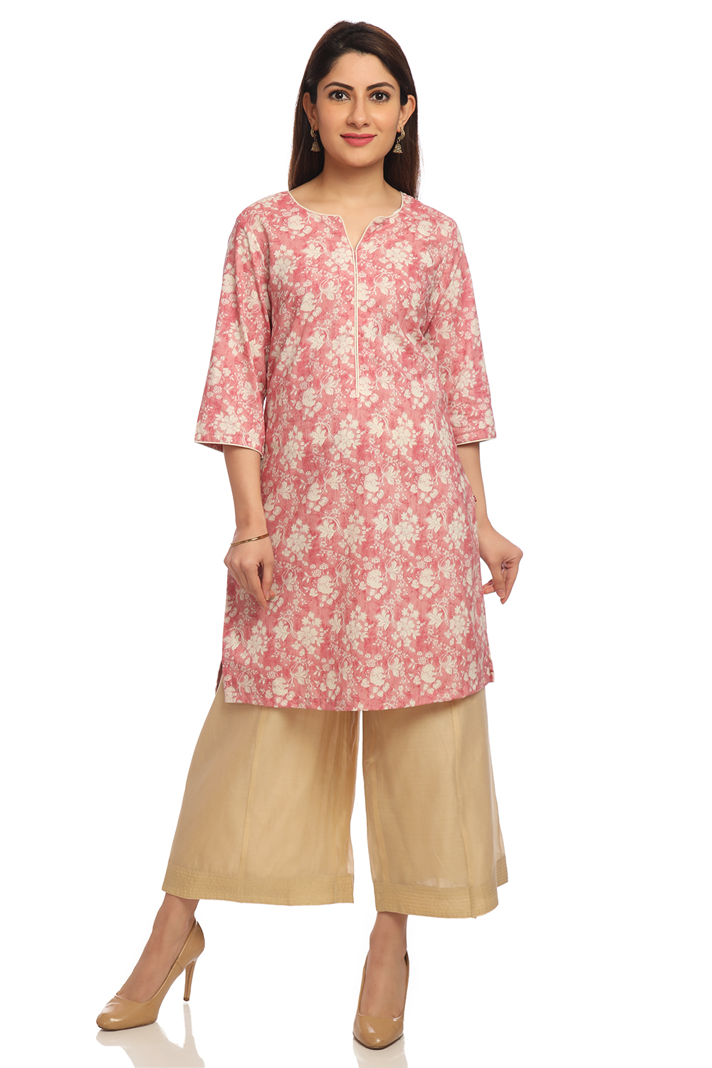 f6e37d85c6 Buy Online Onion Pink Straight Cotton Kurta for Women & Girls at Best  Prices in Biba India-CAFEPIN1