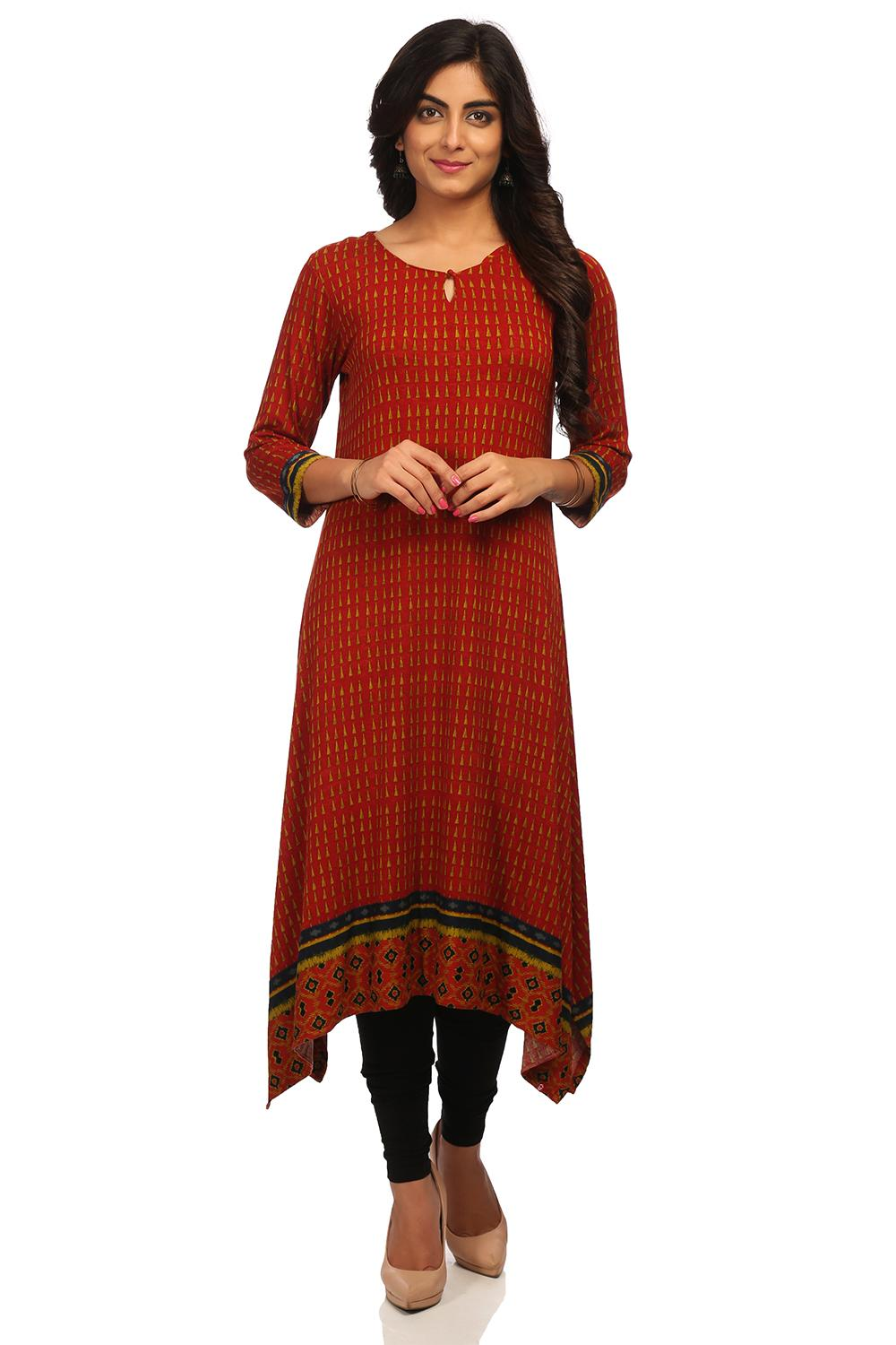 Red Asymmetric Viscose Lycra Kurta - CARVEDB13238A