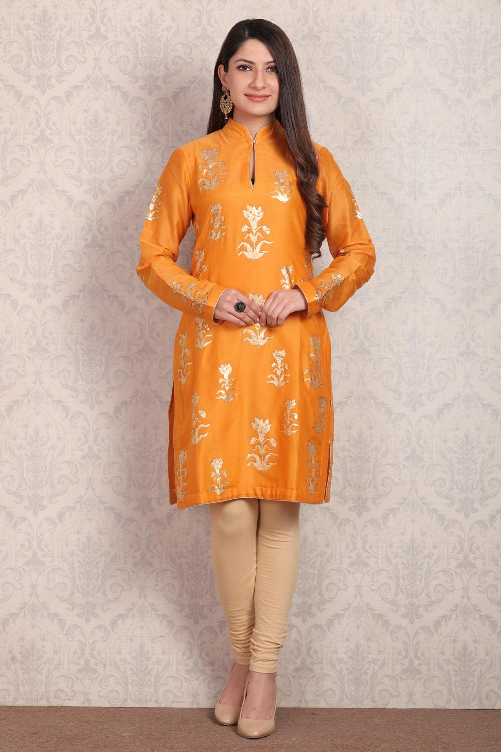 Mango Yellow Straight Cotton Kurta_La
