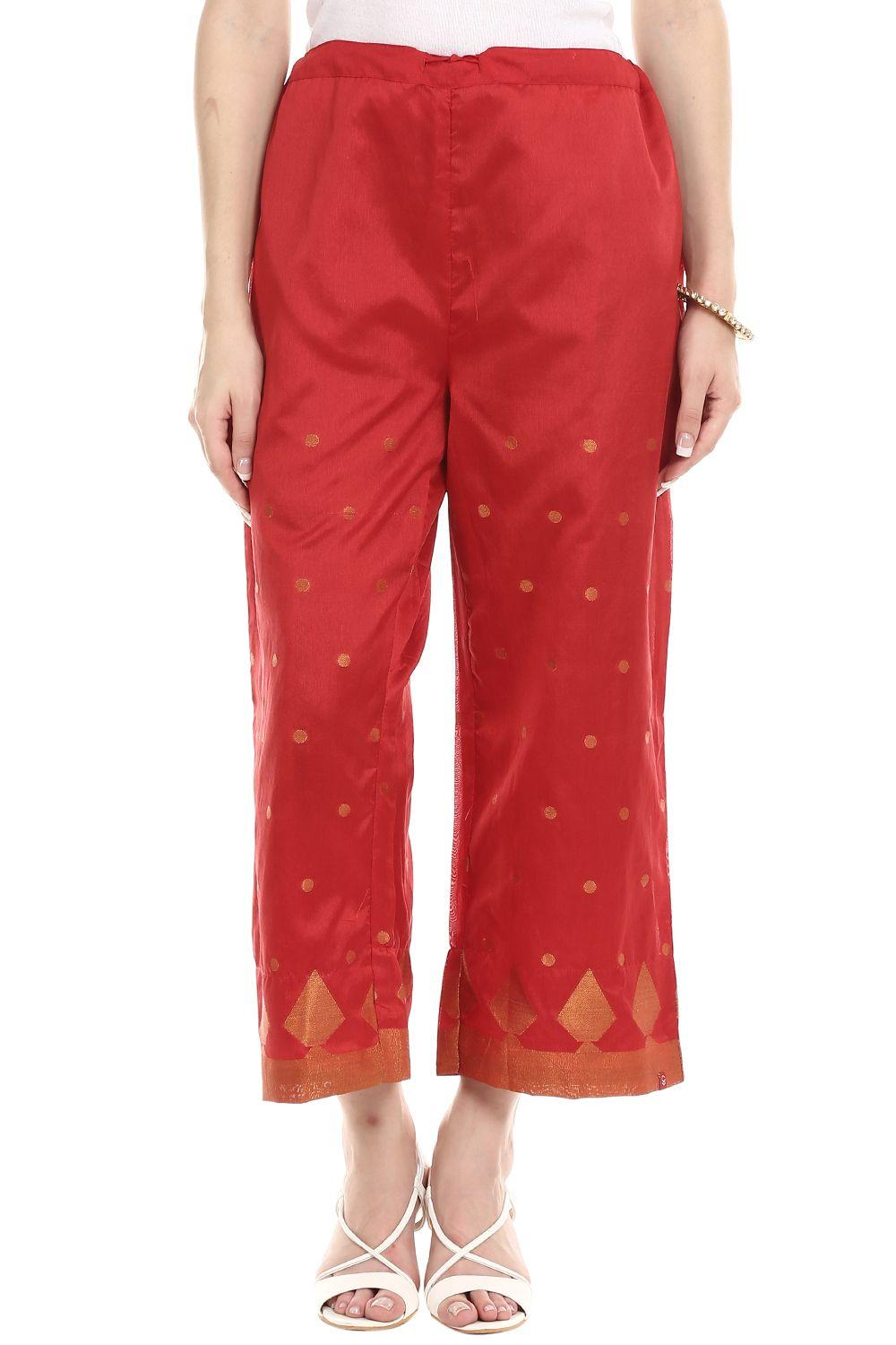 Red Poly Metallic Cotton Palazzo - CORE13142AW17RE