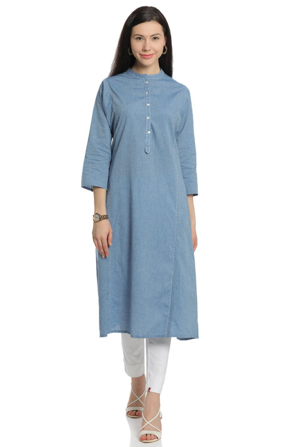 Blue A-Line Cotton Kurta - CORE13726SS18BLU
