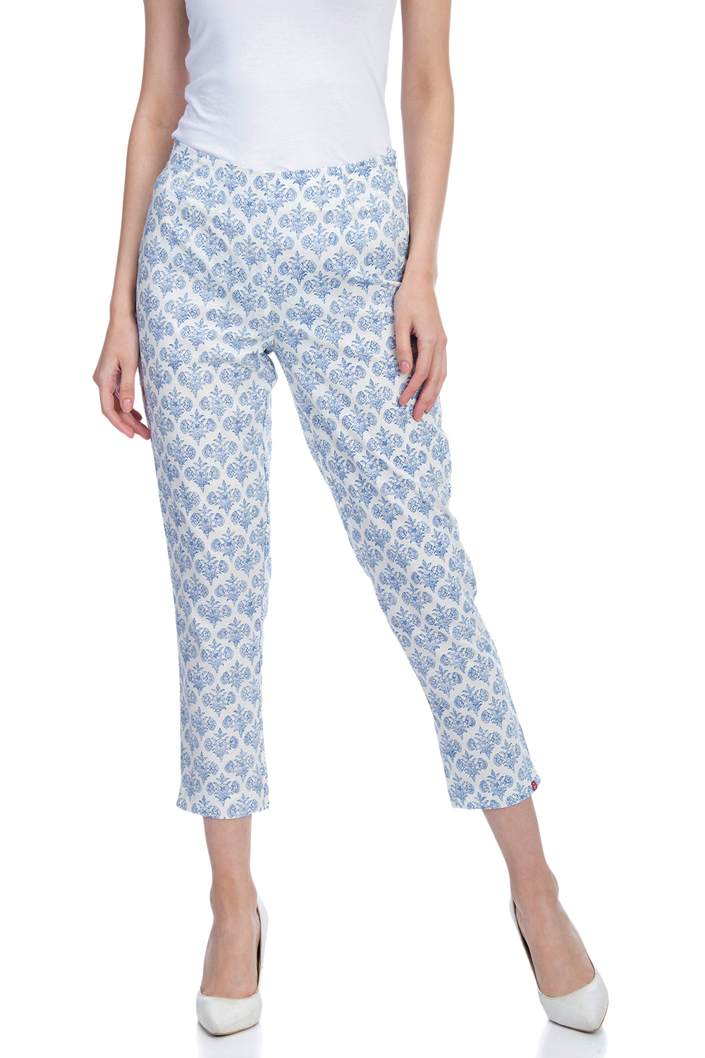 8c75a9178cfc87 Buy Online White And Blue Cotton Pants for Women & Girls at Best Prices in  Biba India-CORE14914SS19