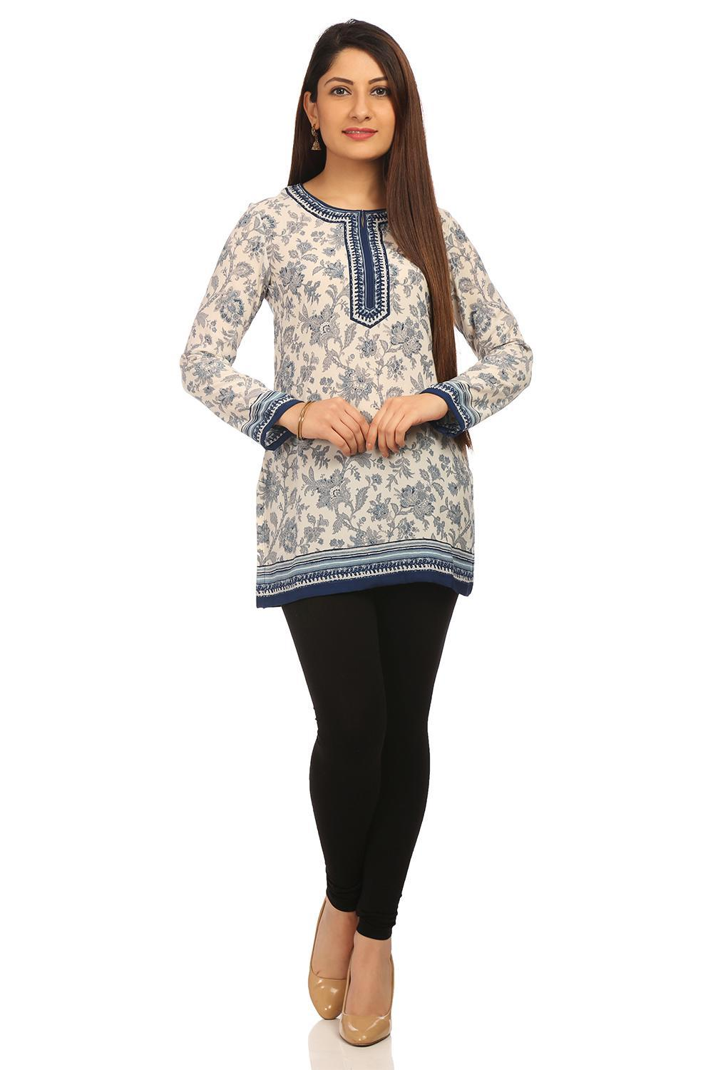 Blue Straight Poly Cotton Kurti - CREPEKU13577AW18