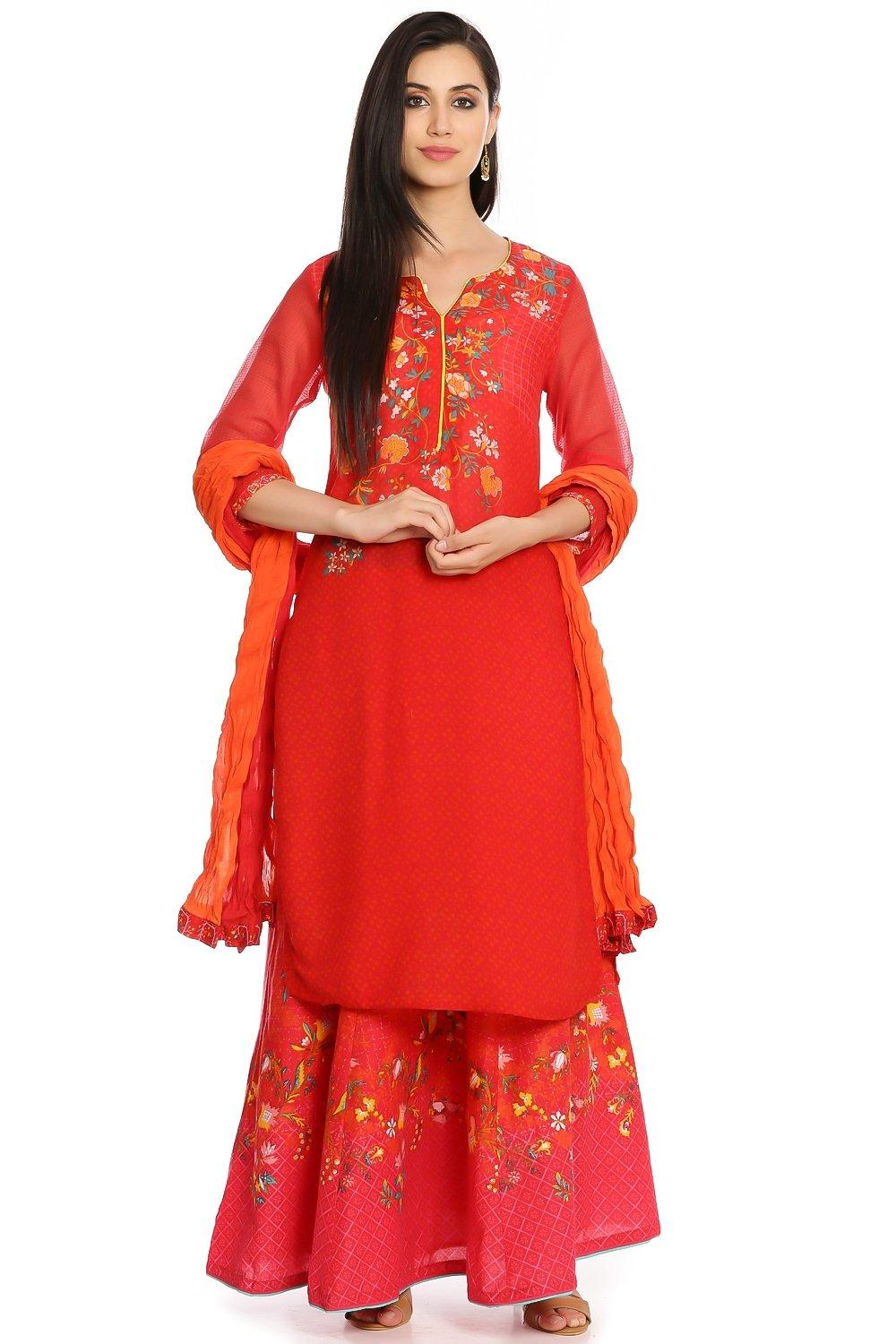 Red Cotton Straight Kurta - ENCHANTE12551RED
