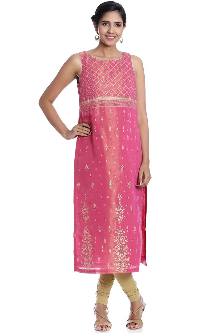 Magenta & Gold Straight Poly Metallic Cotton Kurta