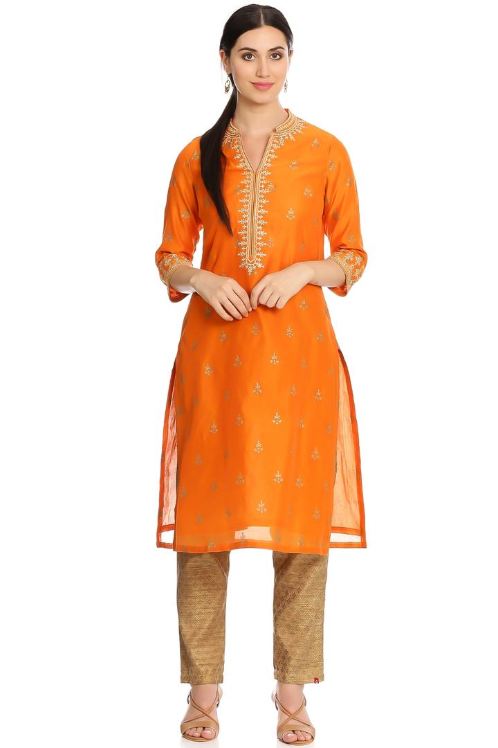 Orange Straight Poly Cotton Kurta - FESTIVE12918AW