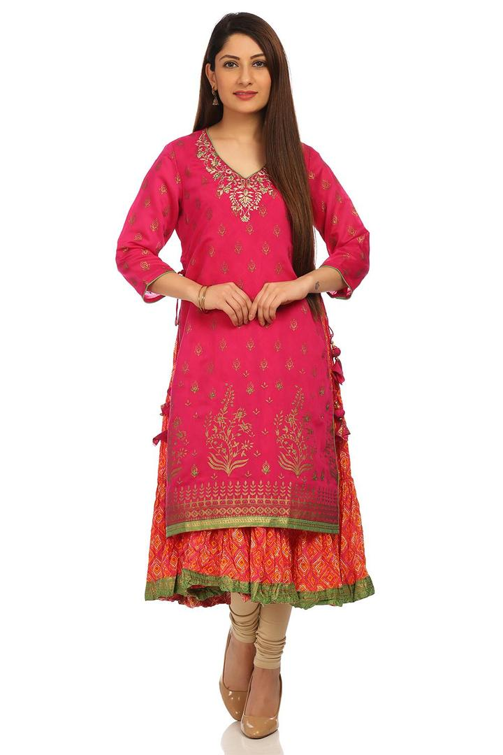 Pink Flared Poly Cotton Kurta - FESTIVE12975AW17PN
