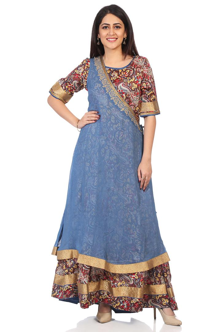Blue & Brown Art Silk Asymmetric Kurta - FESTIVE14